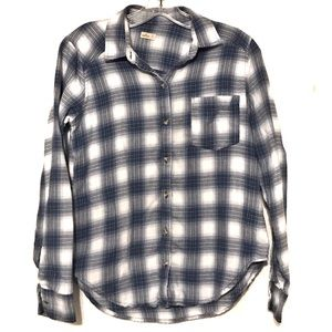 HOLLISTER Blue Plaid Flannel Button Up Shirt XS